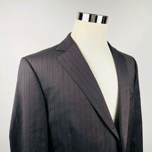 Z Zegna 44R Suit Jacket Brown Striped 100% Wool
